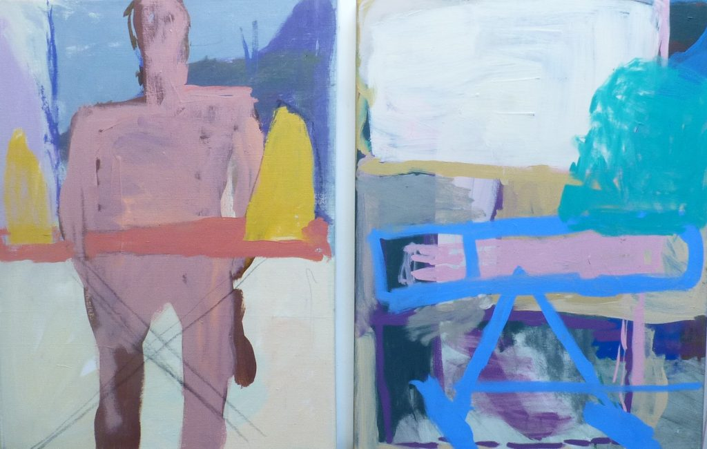 'Fidler' diptych oil on canvas